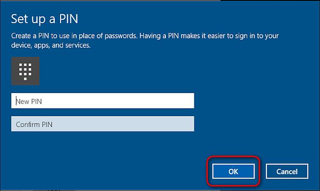 dùng mã PIN đăng nhập Windows 10
