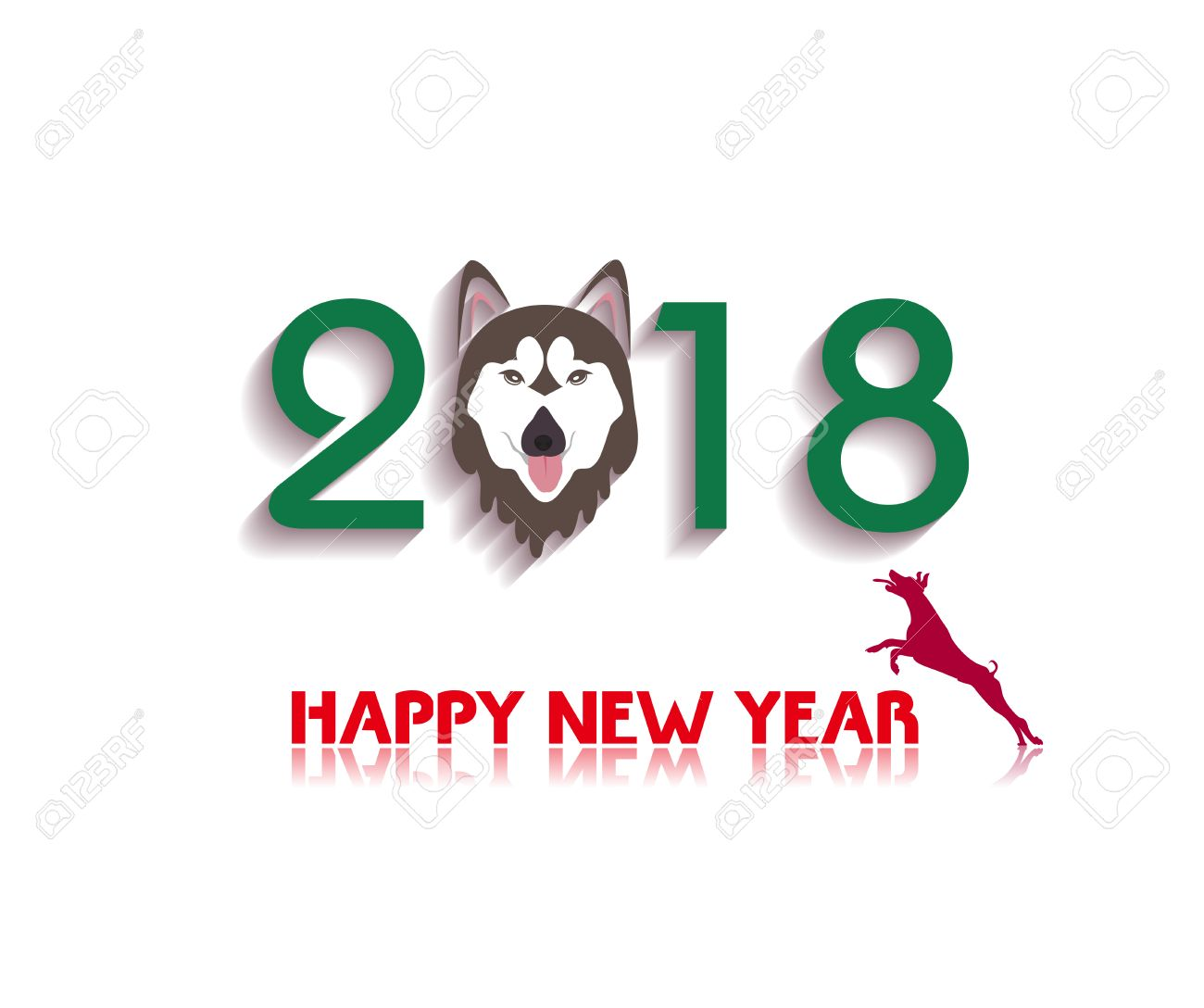72401551-happy-new-year-2018-year-of-dog–Stock-Photo